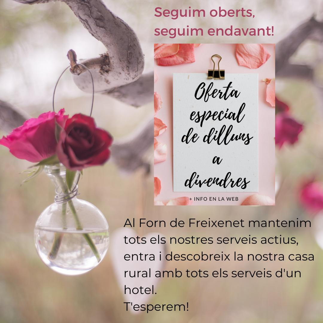 CATALA En el Forn de Freixenet mantenemos todos nuestros servicios activos, entra y descubre nuestra Nueva Promociones para _Sant Valentín_. ¡Te esperamos! (1)
